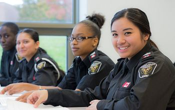 police-foundations students in a classroom by the lake